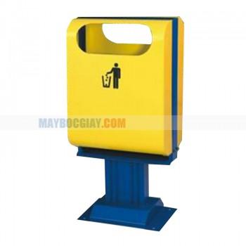 bán thùng rác bằng thép phun sơn màu vàng