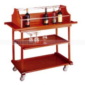 Xe đẩy phục vụ rượu 3 tầng bằng gỗ cao cấp