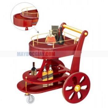Xe đẩy rượu cao cấp bằng gỗ 2 tầng
