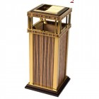 thùng rác gỗ inox vàng