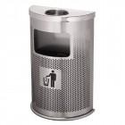 Thùng rác inox bán nguyệt có khay gạt tàn thuốc