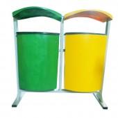 Thùng đựng rác treo đôi bằng nhựa composite phân loại rác hữu cơ và rác vô cơ