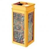 thùng rác bằng đá và inox