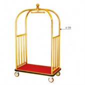 Xe đẩy hành lý nhà khách bằng inox mạ vàng